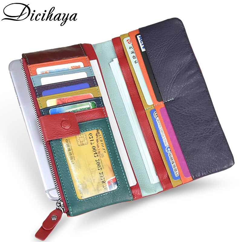 DICIHAYA Soft Genuine Leather Wallet Women's Coin Purse Phone Bag Multi-card Bit Card Holder Purse Contrast Color Billetera