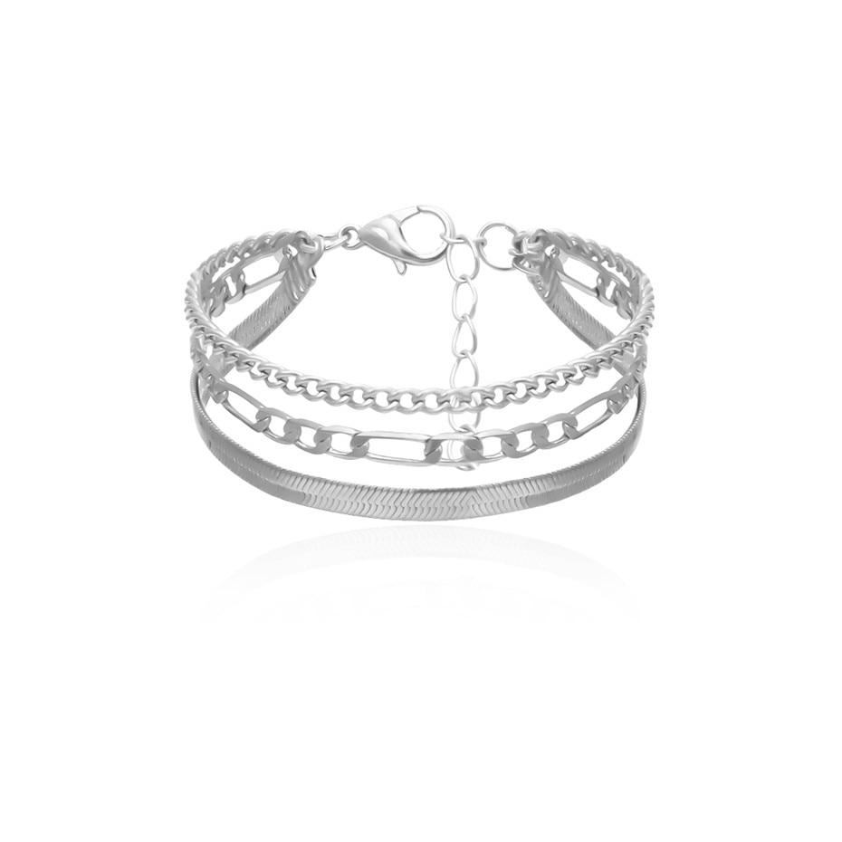 Высокое качество, браслет-цепочка в стиле бохо, змеиная цепочка, браслет, Женская повязка, панк, многослойный, тяжелый металл, толстая цепочка, браслет, пара ювелирных изделий - Окраска металла: Silver Color