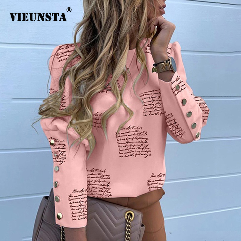 2020 Elegant Puff Shoulder Blouse Shirts Office Lady Spring Metal Buttoned Detail Blouses Women Letters Print Long Sleeve Tops