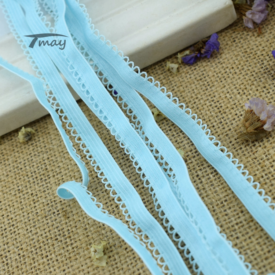 #208 Elastic Bands Blue Color Small Lace Ribbon 8yards French African Lace Scrapbook Edge Trim Sewing Supplies Scrapbooking