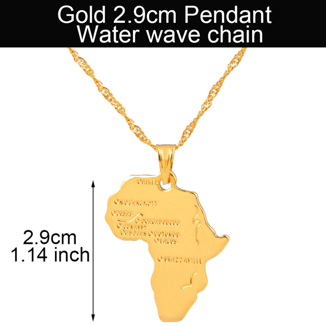 Africa Map Pendant Necklace for Women//Men Silver//Gold Color Ethiopian Jewelry XD