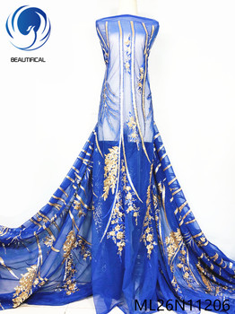 BEAUTIFICAL Blue nigerian lace fabrics Fashion gold seuqins embroidery flowers tulle mesh lace fabric 5yards ML26N112