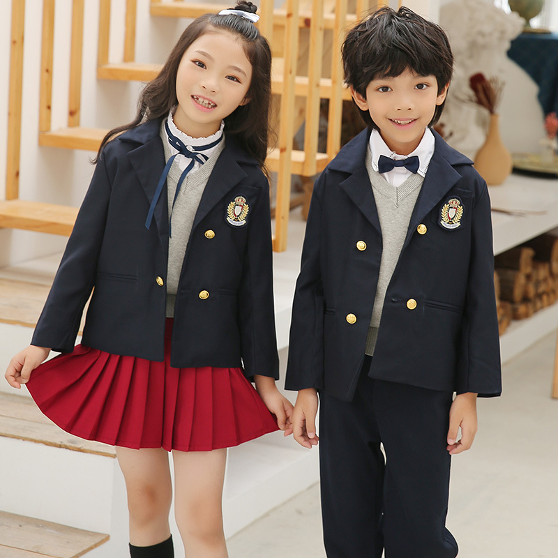 Kindergarten Suit Spring And Autumn New Style England College Style Children Suit Primary School STUDENT'S School Uniform