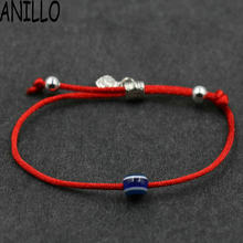 ANILLO Women Evil eye Red Rope Thread String Bracelet Lucky Braided Beads Bracelet Adjustable Charms Jewelry(China)