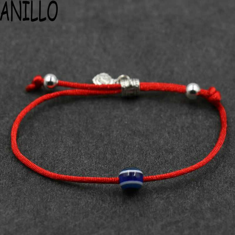 ANILLO 女性邪眼赤ロープ糸文字列のブレスレット幸運編組ビーズブレスレット調整可能なチャームジュエリー