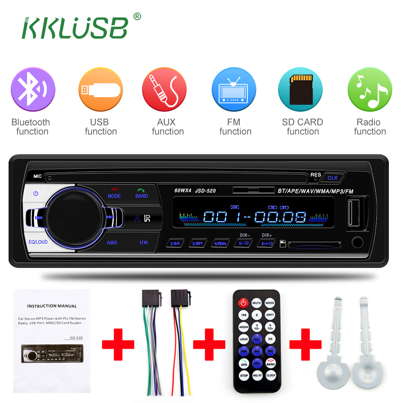 Car Radio 1 din Mini JSD-520 12V Autoradio Car Stereo Bluetooth FM Radio AUX/USB/SD Multimedia Music Player Car Accessories image