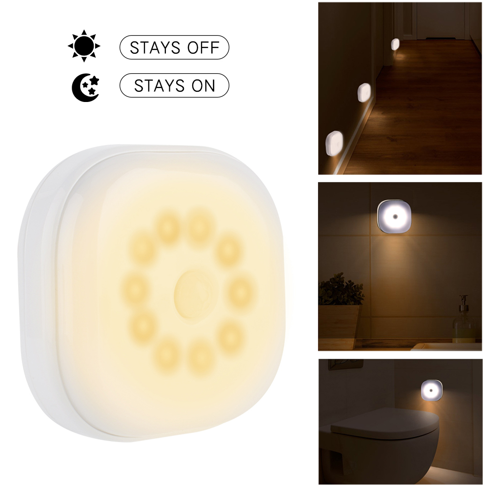 10 LEDs PIR Motion Sensor Night Light Lamp For Bedroom Kitchen Magnetic Closet Cabinet Light Wireless Corridor Stair Light