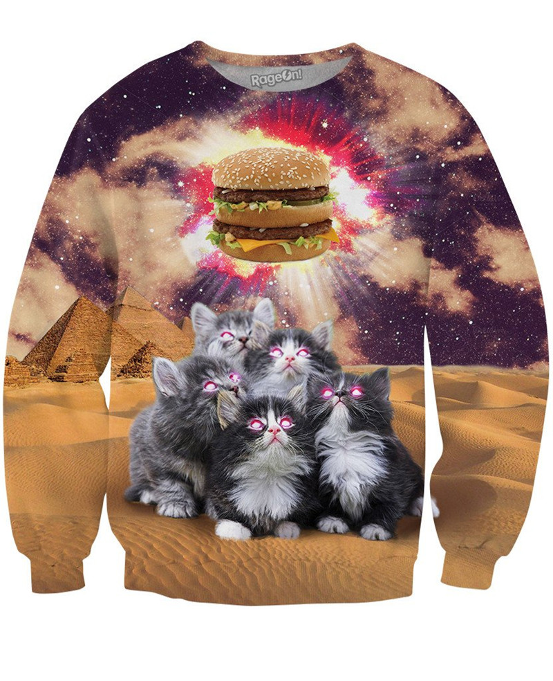 YELITE 2019 Funny Animal Christmas Cat 3D Sweatshirts Men Longsleeve Laser Cat Print Fashion Pullover Harajuku Streetwear Tops