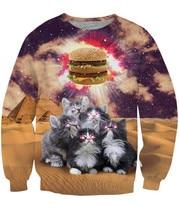 YELITE 2019 Funny Animal Christmas Cat 3D Sweatshirts Men Longsleeve Laser Print Fashion Pullover Harajuku Streetwear Tops