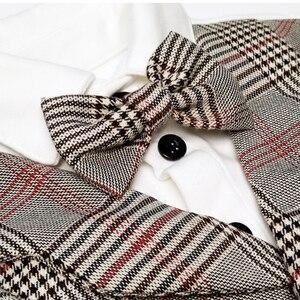 Image 2 - Dziecko Gentleman strój niemowlę dziecko chłopców ślubne formalne odzież zestaw maluch prezent urodzinowy garnitur w kratę koszula spodnie kostium 5 sztuk
