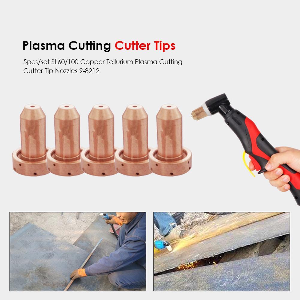 5pcs 9-8212 Consumables Plasma Cutting Tips Excellent Imported Copper Tellurium Cutter Retaining Cap Welding Nozzle