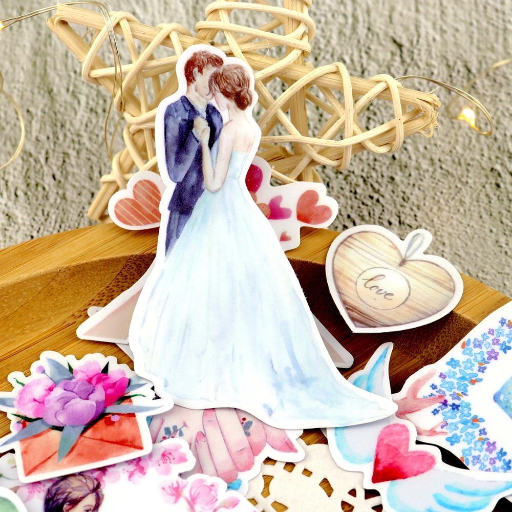 Акварельные наклейки для влюбленных с сердечками, милые розы на День святого Валентина, наклейки для планировщика, Стикеры для скрапбукинга, канцелярские принадлежности, pegatinas naklejki