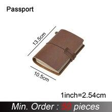 50 шт./лот, паспорт 135x105 мм, блокнот из натуральной кожи, винтажный дневник ручной работы из воловьей кожи, альбом планер