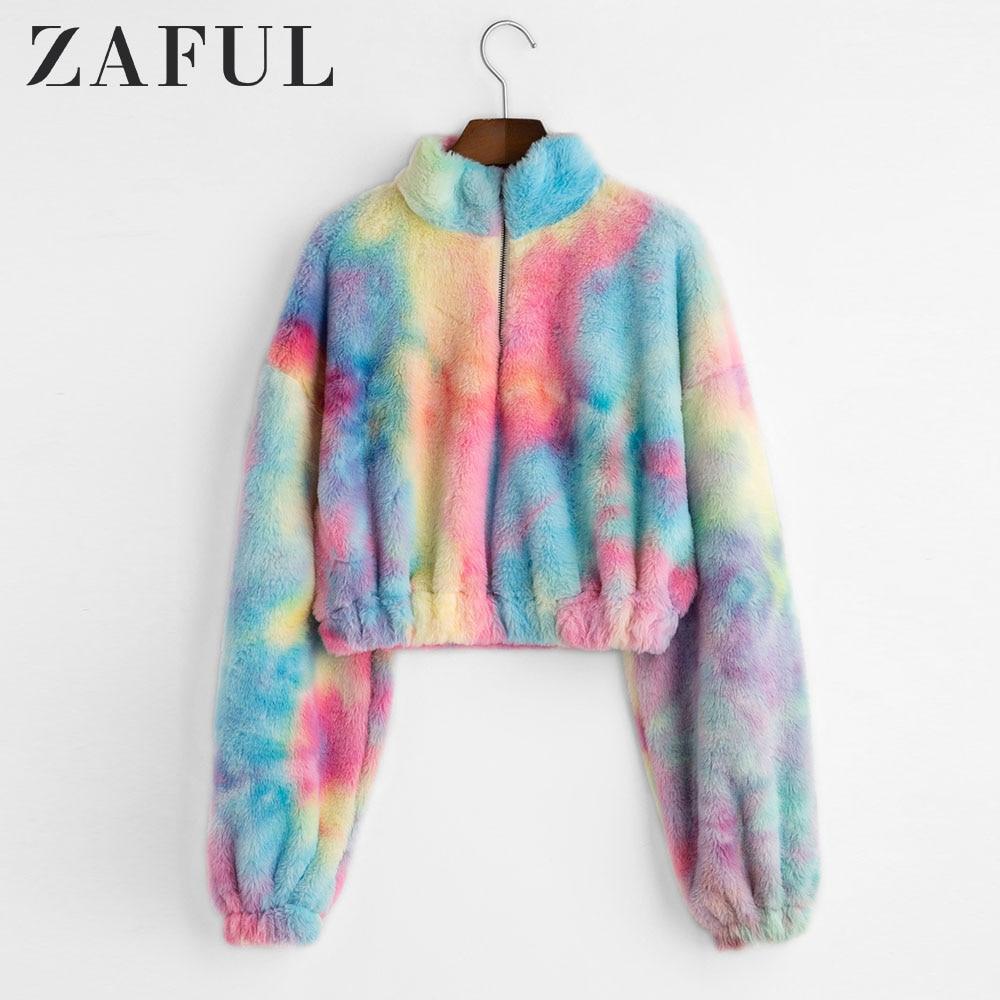 ZAFUL Hoodies Women Tie Dye Zip Front Faux Fur Fluffy Sweatshirt Drop Shoulder Cool Streetwear Colorful Winter Short Warm Tops