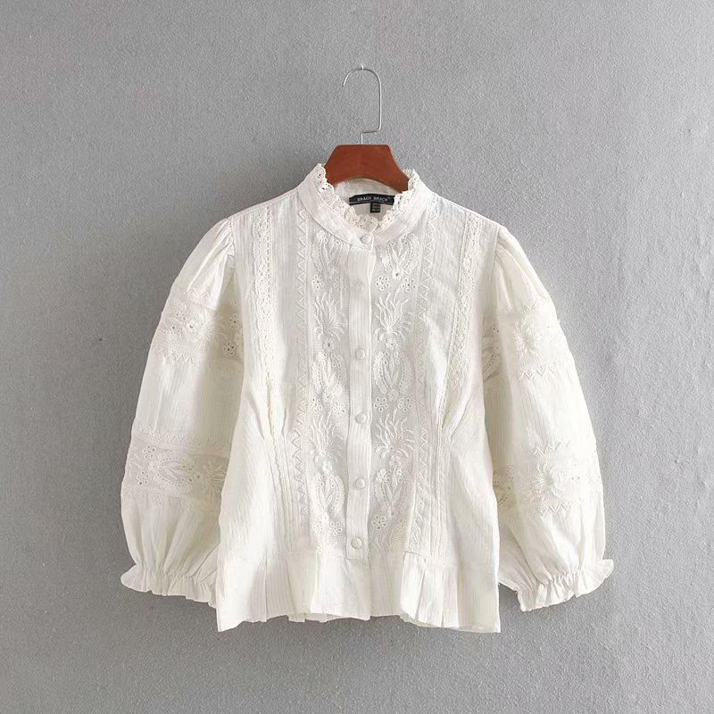 New Women Elegant Stand Collar Embroidery Lace Patchwork Casual Shirts Blouses Women Ruffles Femininas Linen Chemise Tops LS4515