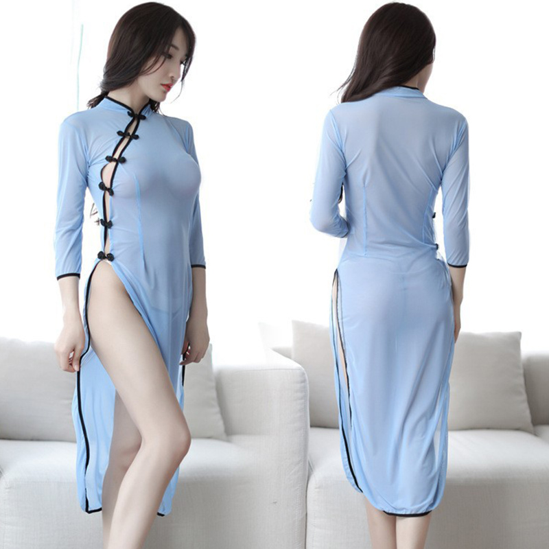Chinese Retro sStudent Cheongsam Cosplay <font><b>Sexy</b></font> Lace Lingerie <font><b>Babydoll</b></font> <font><b>Sexy</b></font> Erotic Nightwear See Through <font><b>Sexy</b></font> Woman Clothes image