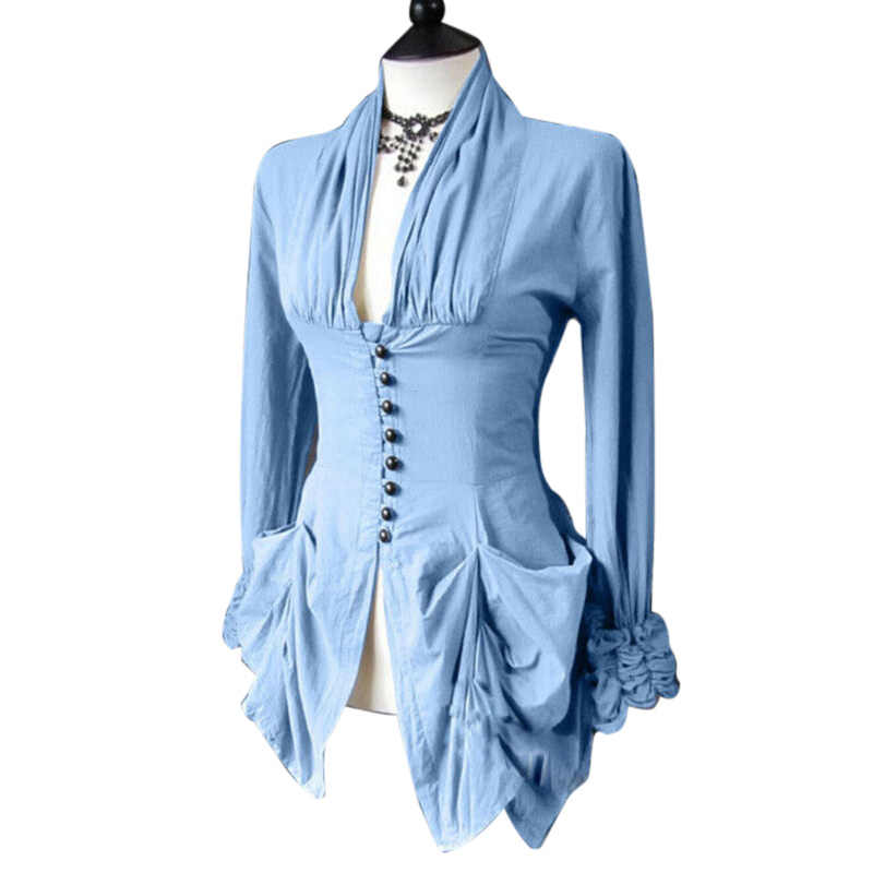 womens tops and blouses Victorian Retro Tops Steampunk Slim Buttons Shirt Costume Party Plus Size blusas mujer de moda 2019