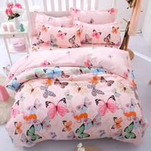 Fashion Butterfly Printed Cotoon Quilt Duvet Cover Comforter Bed Sheet Pillowcase Twin Queen King Bedding Set Kids Room Decor(China)