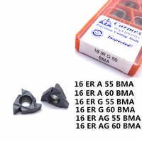 10 Uds 16ER AG55 A55 G55 AG 60 BMA Carburo de rosca externa inserto cnc torno herramientas de torneado mecanizado de alta calidad