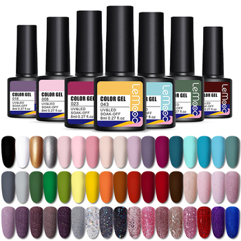 LEMOOC 8ml Nail Gel Polish 80 Colors Soak Off Semi Permanent For  Matte Base Coat Hybrid Nail Art Gel Varnish varnish