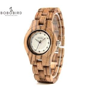 Image 1 - Bobo pássaro relógio feminino único de bambu de madeira jam wanita unik moda quartzo relógios de pulso na caixa presente V O29