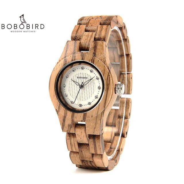Bobo pássaro relógio feminino único de bambu de madeira jam wanita unik moda quartzo relógios de pulso na caixa presente V O29