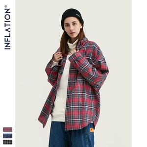 Image 3 - INFLATION Autumn Men Checked Shirt Long Sleeve Oversized Men Plaid Shirt Streetwear Mens Fashion Loose Fit Cotton Shirt  004W17