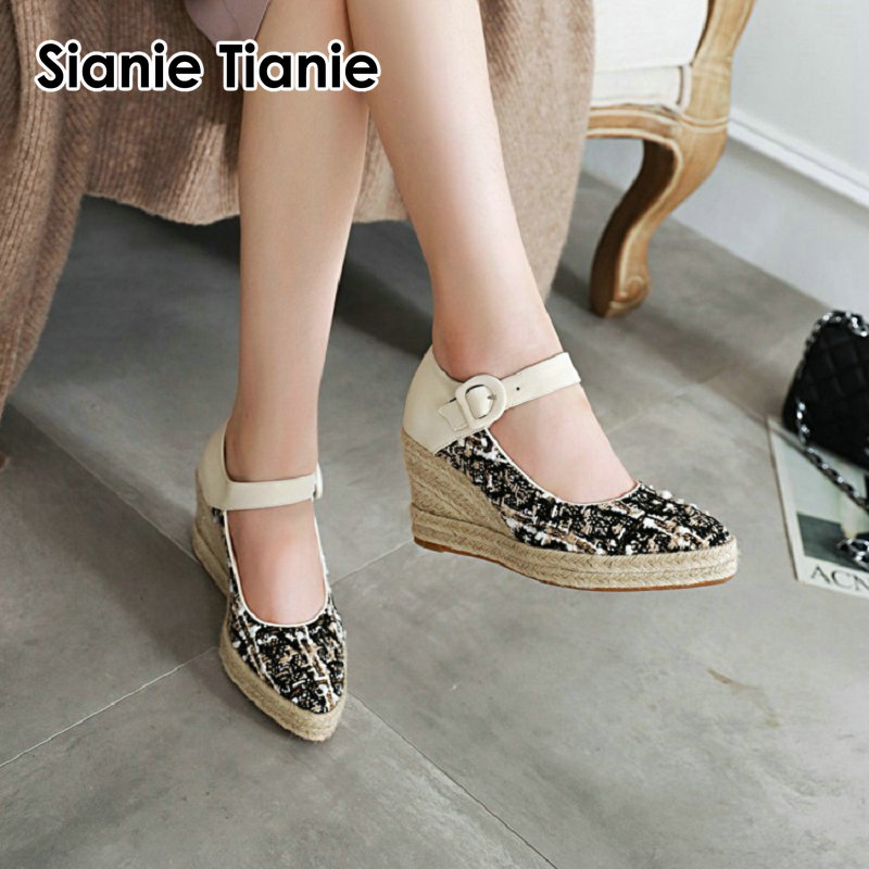 Sianie Tianie 2020 Spring Autumn Pointed Toe Plaid Woman Espadrilles Wedges High Heels Buckle Strap Women Mary Janes Ladies Shoe