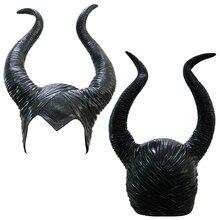 Chifres maléfica Cosplay Máscara Chapelaria Preto Rainha Cap Capacete Capacete Chapéu de Halloween Cosplay Rainha Negra рога малифисенты