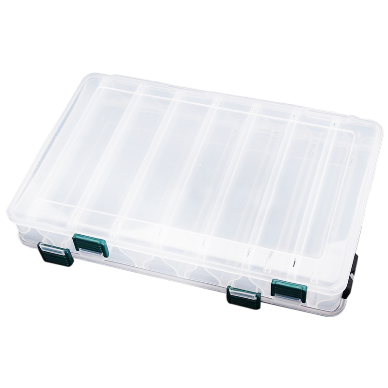 Transparent Visible Plastic Fishing Lure Box 14 Compartments Hole Tackle