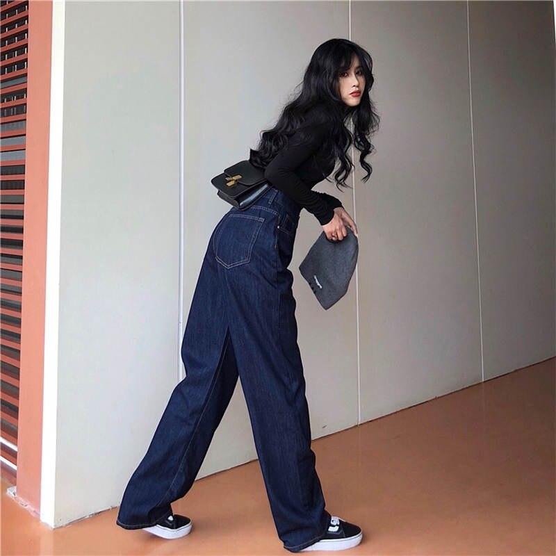 Korean 2020Spring Autumn New Women Solid Fashion High Waist Loose Casual Soft  Wide Leg Jeans Slim Pants High Quality