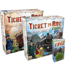 Full English Ticket To Ride Europe Board Game 1912 Expansion TTR Board Game for Kids and Adults Family Package Cards with Box