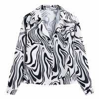 new autumn women notched collar zebra pattern printing casual holiday blouses chic shirts female wrist sleeve blusas tops LS4121