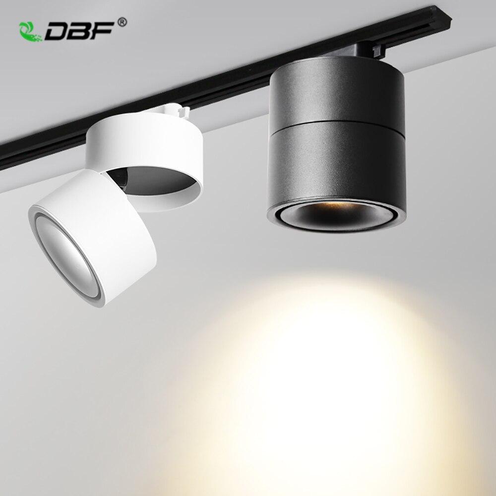 [DBF] 15W 12W 10W 7W Spoor Armatuur COB Dimbare Rail Spotlight LED Track licht AC85-265V Zwart/Wit Geleiderail Spoor Licht