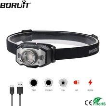 BORUiT B33 LED Motion IR Sensor Mini Headlamp XP-G2+2*3030 Red Light 5-Mode Zoom Headlight Rechargeable Head Torch Hunting Light