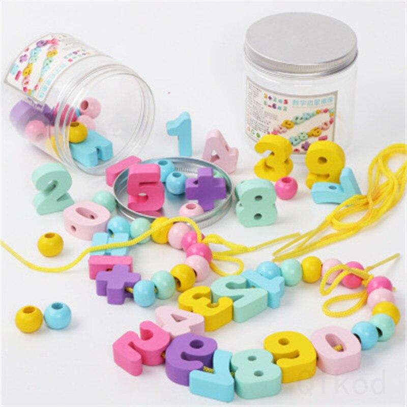 Montessori Educational Wooden Toy 3DDigital Bead Wooden Sensory Mathematics Jigsaw Brain Training Early Intellectual Learning
