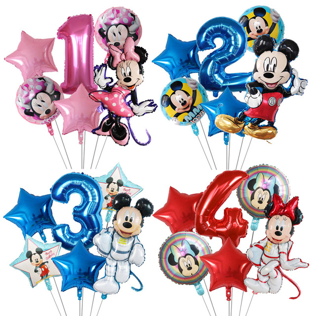 6Pcs Disney Minnie Foil Balloons Set Mickey Mouse Balloon Birthday Party Decoration Baby Shower Kids Toy Air Globos Supplies 1