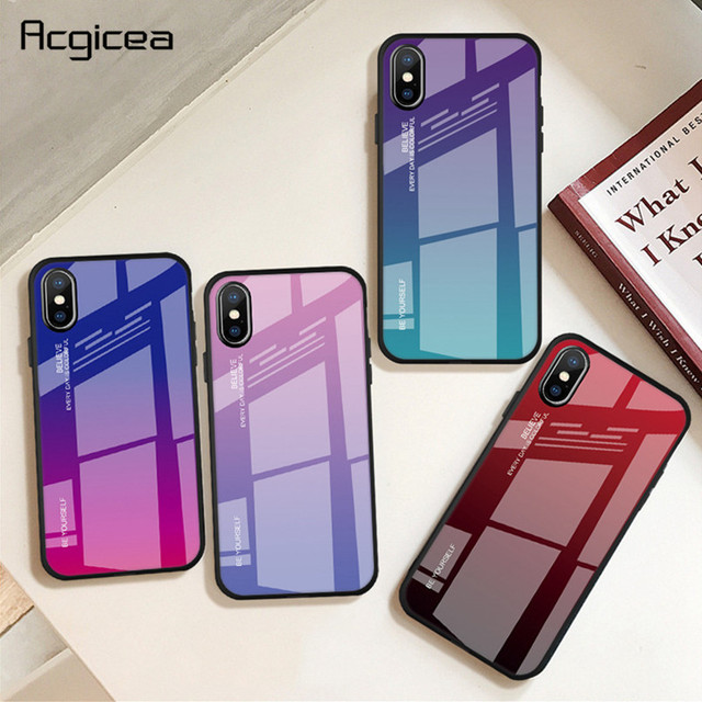 Gradient Tempered Glass Case For iPhone XR 7 8 6 6s Plus on the For iPhone X XS XS Max Protective Phone Cases Glass Back Cover