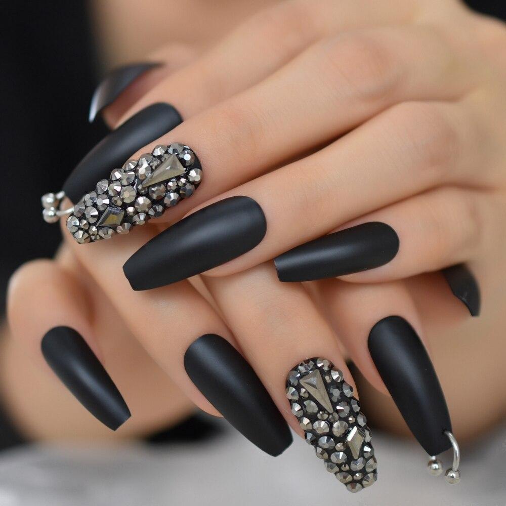 preto fosco 3d rhinestone acrilico nail dicas 04
