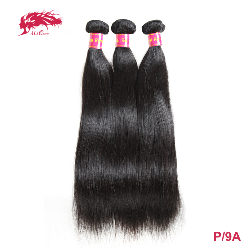 Ali Queen Hair 3Pcs Brazilian Straight Human Hair Weave Bundles Natural Color 8