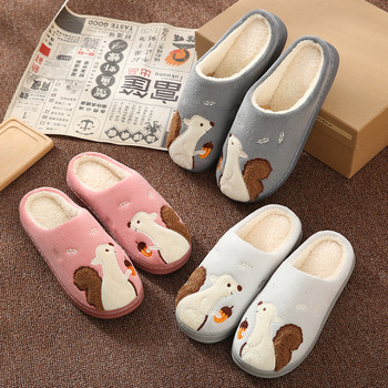 Cute Squirrel Women Winter Home Slippers Cartoon Animal Soft Winter Warm House Shoes Men Women Girl Boys Indoor Bedroom Slippers 1