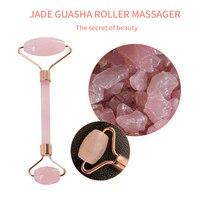 Rose Quartz Powder Crystal Jade Roller Massage Spa Natural Pink Handmade Gua Sha Stone Facial Beauty Device Face Skin Care Tool 6
