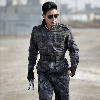 Tactical Army Military uniform combat suits Black jacket +pants one sets Military Plus Size 4XL Free Shipping Camouflage suits chiefs rattlesnake kryptek mandrake highlander typhon nomad outdoor combat pants ripstop free shipping sku12050331
