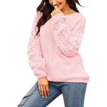 Roze Vrouwen Breien Truien Gat Losse Lange Mouw O-hals Cross Bandage Trui Tops Hollow Out Casual Dames Jumpers(China)