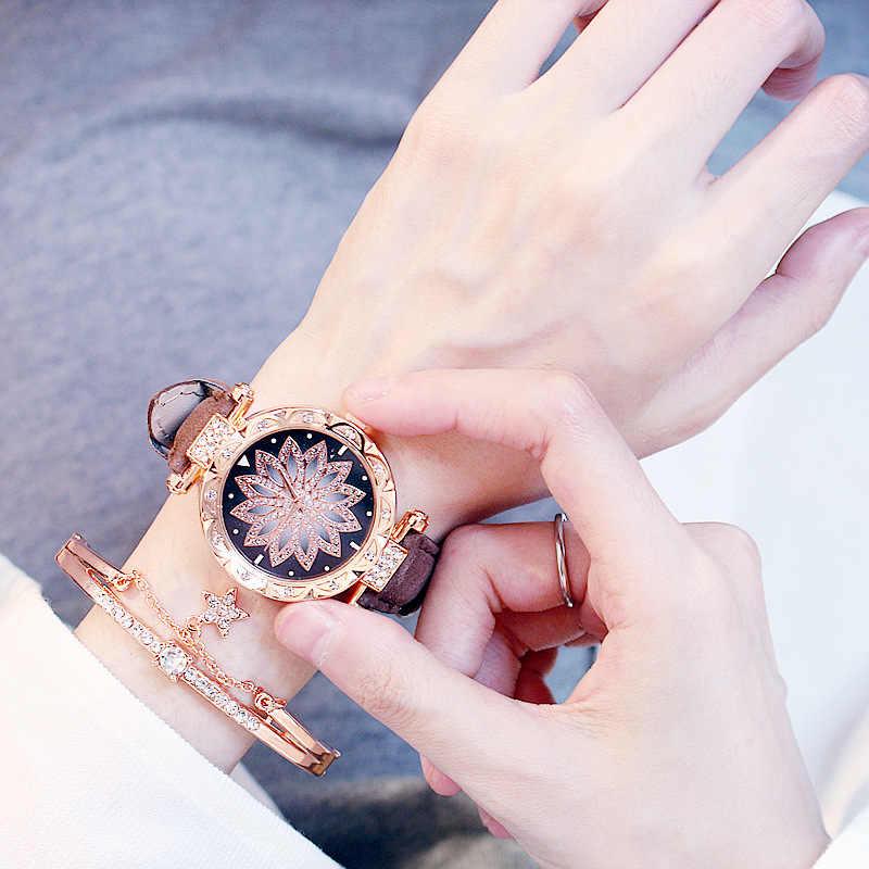 الفاخرة النساء الساعات سوار مجموعة السماء المرصعة بالنجوم السيدات سوار ساعة عادية جلدية كوارتز ساعة اليد ساعة هدية Relogio Feminino