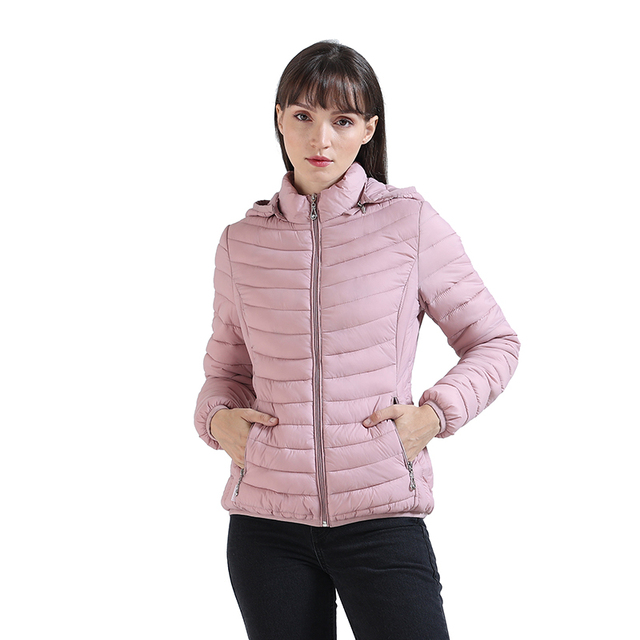SANTELON Winter Women  Padded Jacket Slim Short Parka Outdoor Warm Clothes Portable Store In A Bag Ultralight Coat For Chile 2