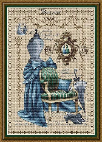 Needlework  14CT   Cross Stitch, DIY Count Cross Stitch, Embroidery Set, Blue tailor shop