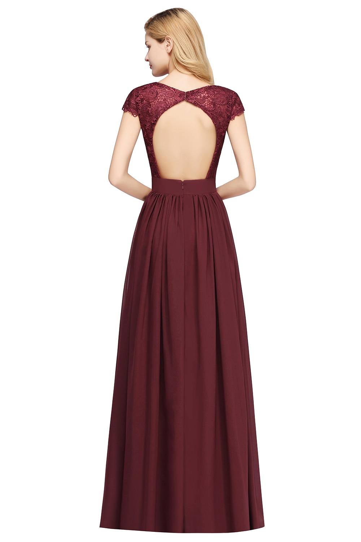 Elegant Long Burgundy Lace Bridesmaid Dresses 2020 Wedding Party Guest Gown Sleeve Chiffon robe demoiselle d honneur For Women