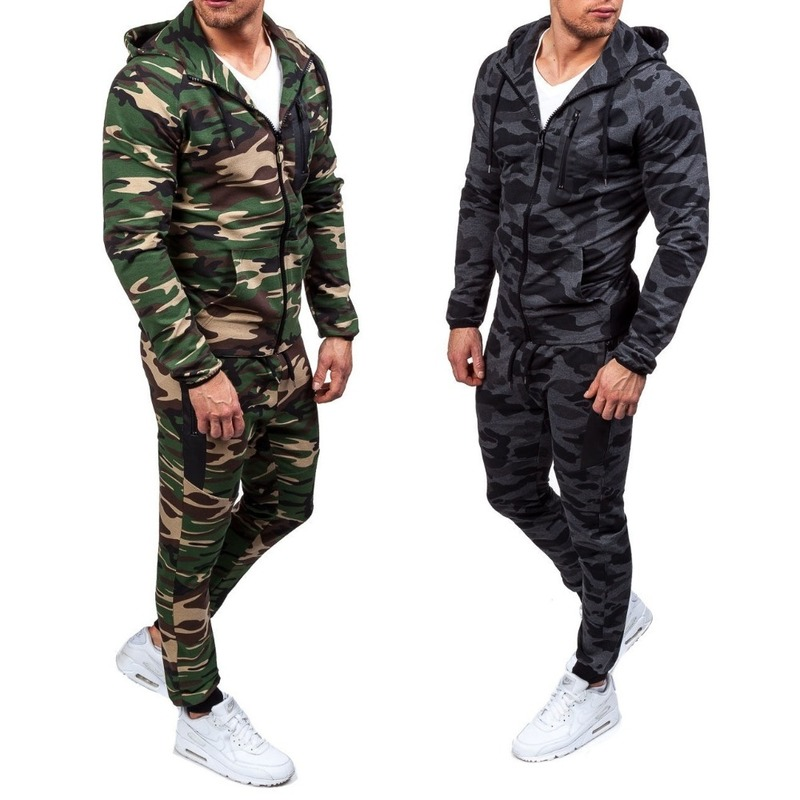 Zogaa 2019 Camouflage Jackets Set Men Camo Printed Sportwear Male Tracksuit Top Pants Suits Hoodie Coat Trousers Autumn Winter