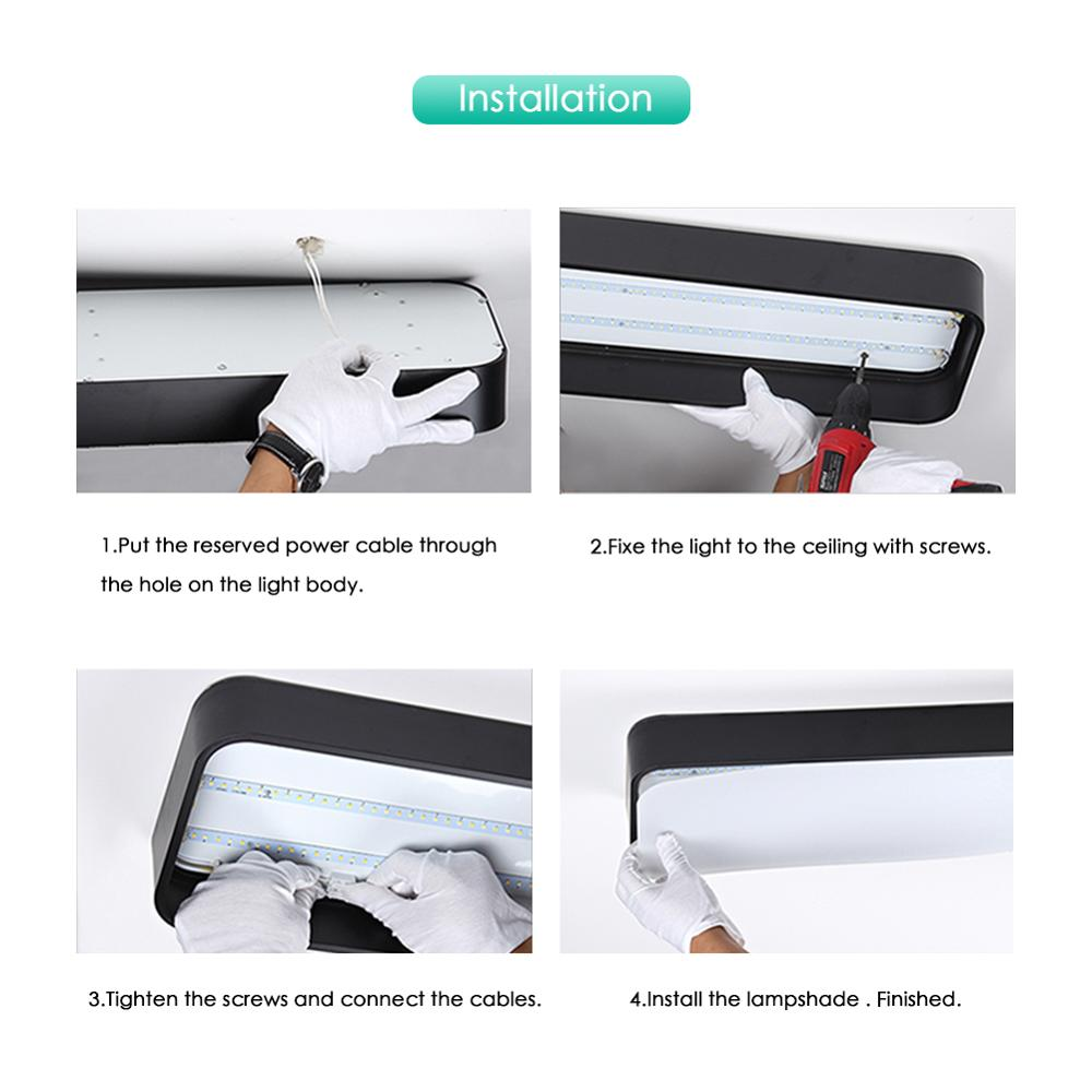 Modern LED Ceiling Light Lamp Lighting Fixture Rectangle Office Remote Bedroom Surface Mount Living Room Panel Modern LED Ceiling Light Lamp Lighting Fixture Rectangle Office Remote Bedroom Surface Mount Living Room Panel Control 110V 220V